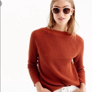 J Crew Orange Relaxed Chunky Knit Boatneck Sweater